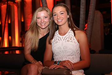 Young riders Emily Moffitt and Emma Heise enjoy the Setai show party