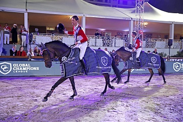 GCL of Cannes - Maikel van der Vleuten and Leopold van Asten of Monaco Aces parade after winning the competition