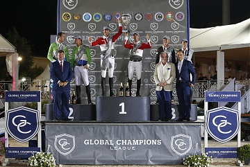 GCL of Cannes - Prize giving ceremony with Monaco Aces 1st, Paris Jets 2nd and Cascais Charms 3rd