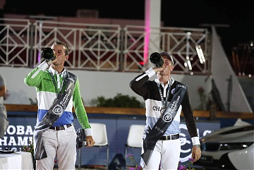 GCL of Cannes - Gregory Wathelet and David Will celebrate with champagne