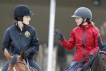 GCL of Paris - warming up - Georgina Bloomberg and Jessica Springsteen