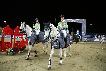 GCL of Doha -  Team Paris Jets - Nicola Philippaerts and Rolf Goran Bengtsson entering the arena for the prize giving ceremony