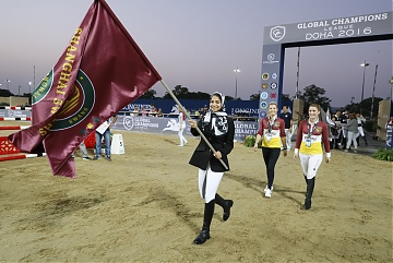 GCL of Doha -  GCL's teams parade - Team Shanghai Swans - Edwina Tops - Alexander and Alexandra Thornton