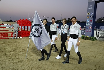 GCL of Doha -  GCL's teams parade - Team Madrid in Motion - Alberto Zorzi, Athina Onassis and Gonzalo Anon Suarez