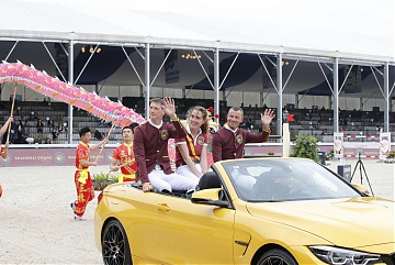 Team Shanghai Swans parades inside the arena with a brand new BMW M4