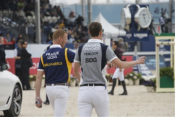 Prague Lions' rider Niels Bruynseels and Montreal Diamonds' rider Jos Verlooy during course walking