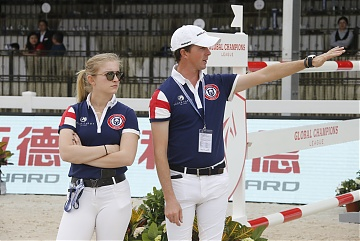 Team London Knights riders Emily Moffitt and Ben Maher during course walking