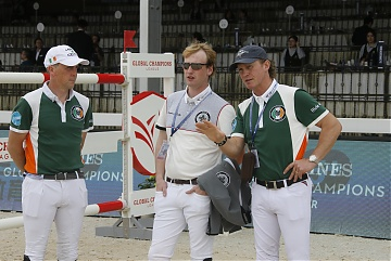 Team Miami Celtics riders Shane Breen (IRL) and Cameron Hanley (IRL) with Team Madrid in Motion's rider Micheal G Duffy (IRL) during course walking