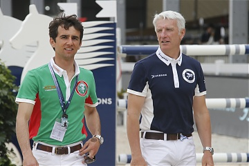 Team Rome Gladiators' rider Marlon Modolo Zanotelli (BRA) and Team Chantilly Pegasus rider Roger Yves Bost (FRA) during course walking
