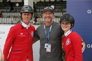 Neil Moffitt with his daughter Emily and Ben Maher