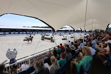 Fully packed grandstand during GCL Round 2 in St Tropez