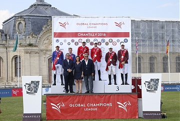 The podium: 1st London Knights, 2nd Valkenswaard United and 3rd Shanghai Swans