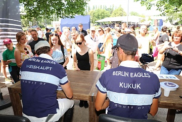 Autographs session for Team Berlin Eagles riders Christian Kukuk and Philipp Weishaupt