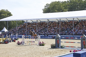 Packed grandstand during Round 2 of GCL London