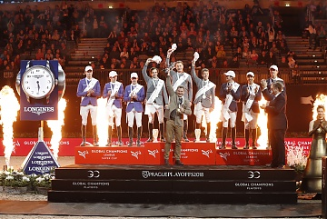 The podium of 2018 GCL Super Cup: 1st Madrid in Motion, 2nd Valkenswaard United and 3rd Paris Panthers