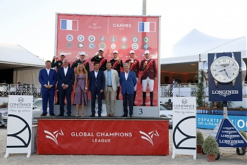 The Podium of GCL of Cannes - 1st Madrid in Motion, 2nd Miami Celtics, 3rd Shanghai Swans