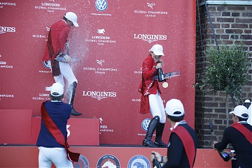 The Podium of GCL of Stockholm - champagne celebration