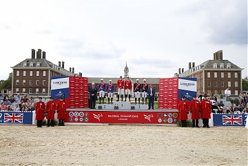 The Podium of GCL of London - 1st London Knights, 2nd Valkenswaard United, 3rd New York Empire