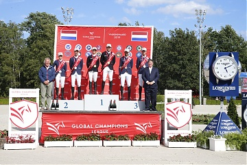 The Podium of GCL of Valkenswaard - 1st Team New York Empire - 2nd Team St Tropez Pirates - 3rd Team Paris Panthers