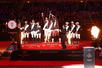 The podium of GCL Super Cup Final: 1st Shanghai Swans, 2nd Monaco Aces and 3rd Madrid in Motion